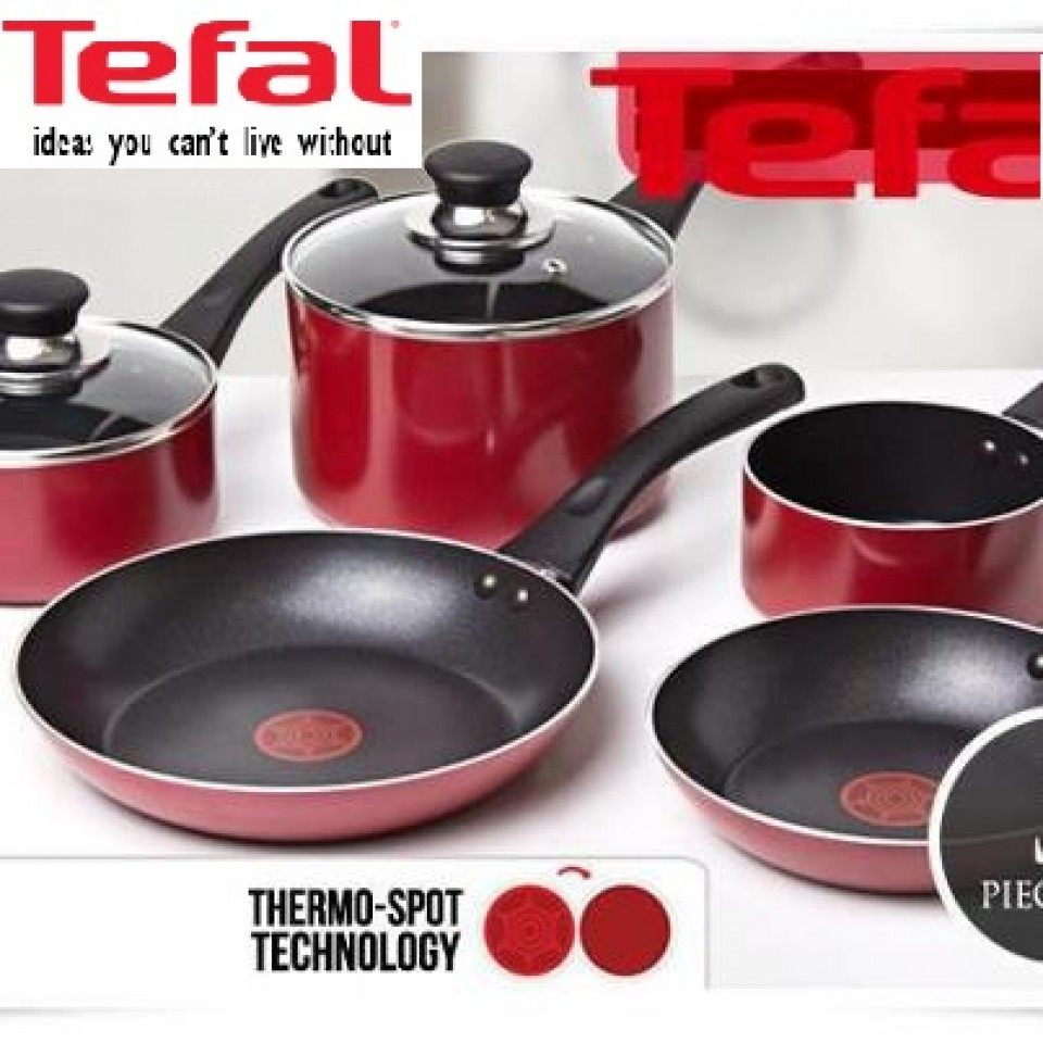 tefal pleasure 9 piece cookware set red non stick. Black Bedroom Furniture Sets. Home Design Ideas