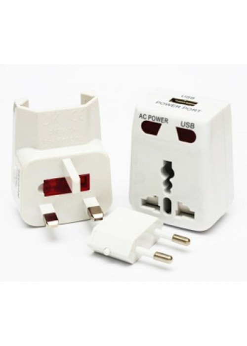 All in One Universal Adaptor + USB+ Surge Protector